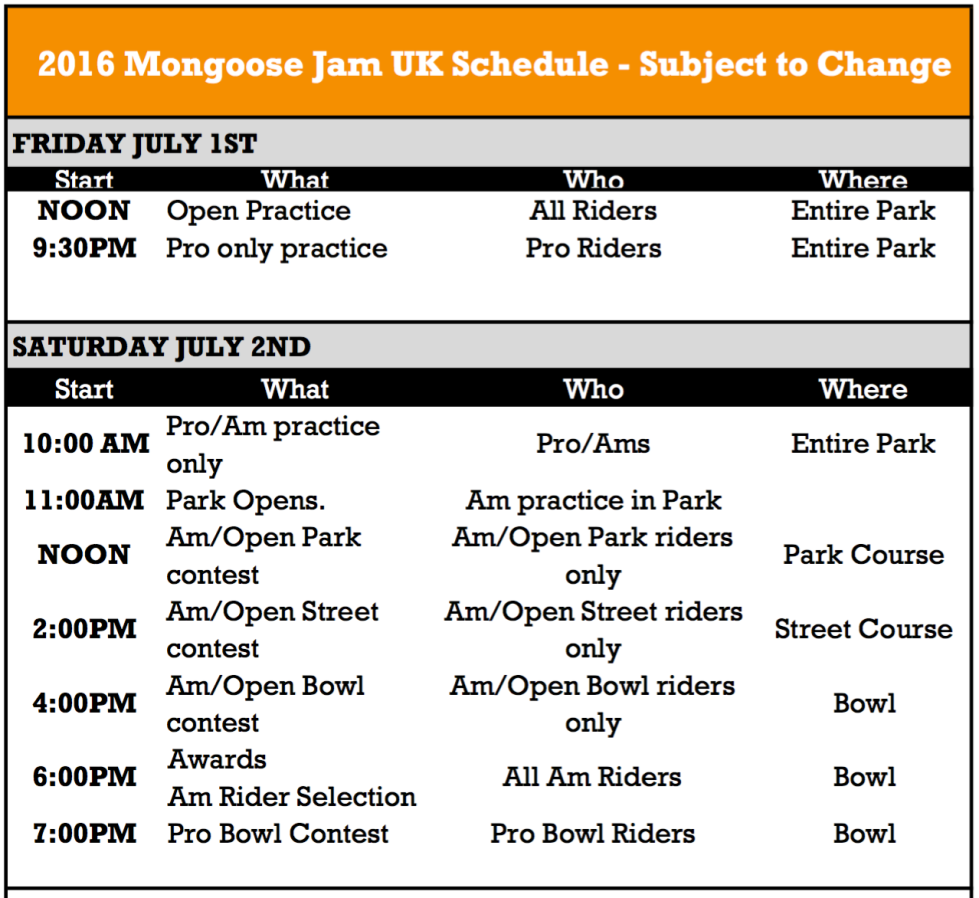 mongoose day 1 schedule