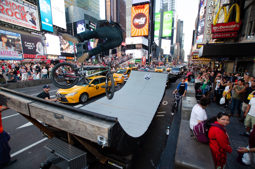 Riding A Ramp In Times Square New York Bmx Com